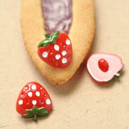 Bouton fraise, layette, bébé, enfant, 3 coloris