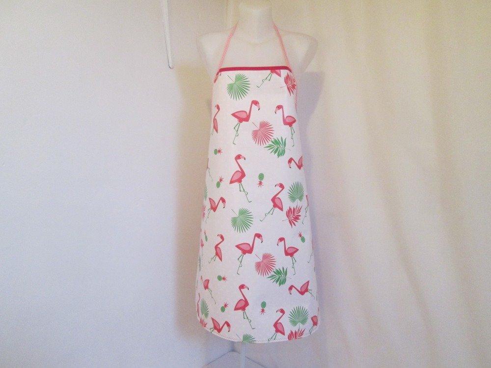 Tablier femme en toile cirée blanche avec des flamands roses