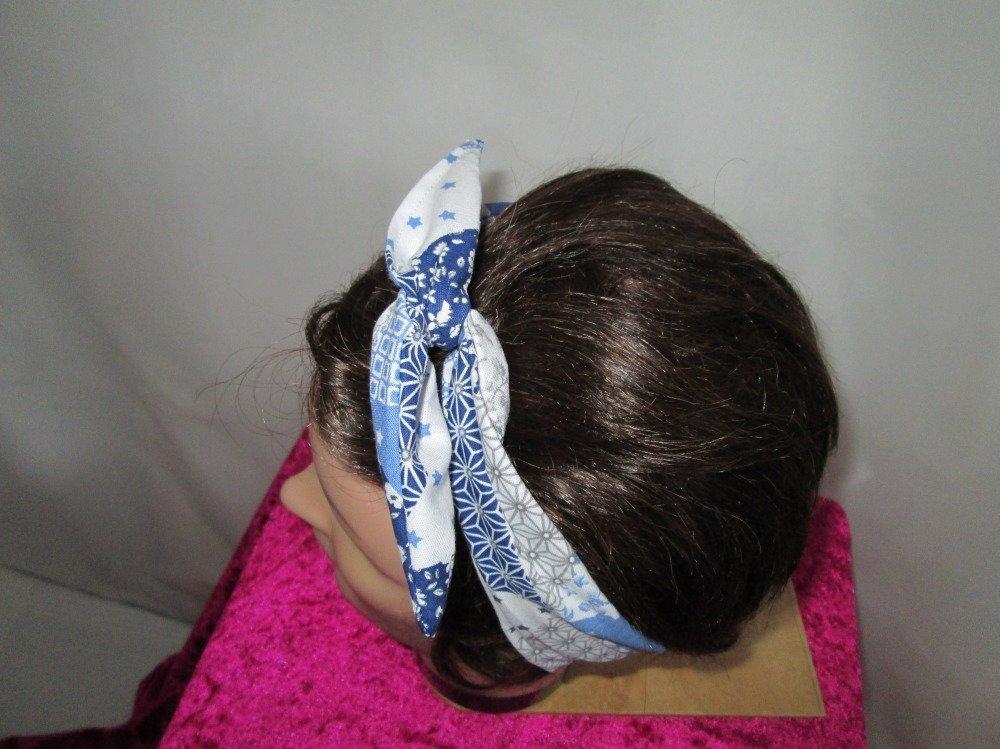 Bandeau vintage rigide bleu, blanc et gris à motifs patchwork
