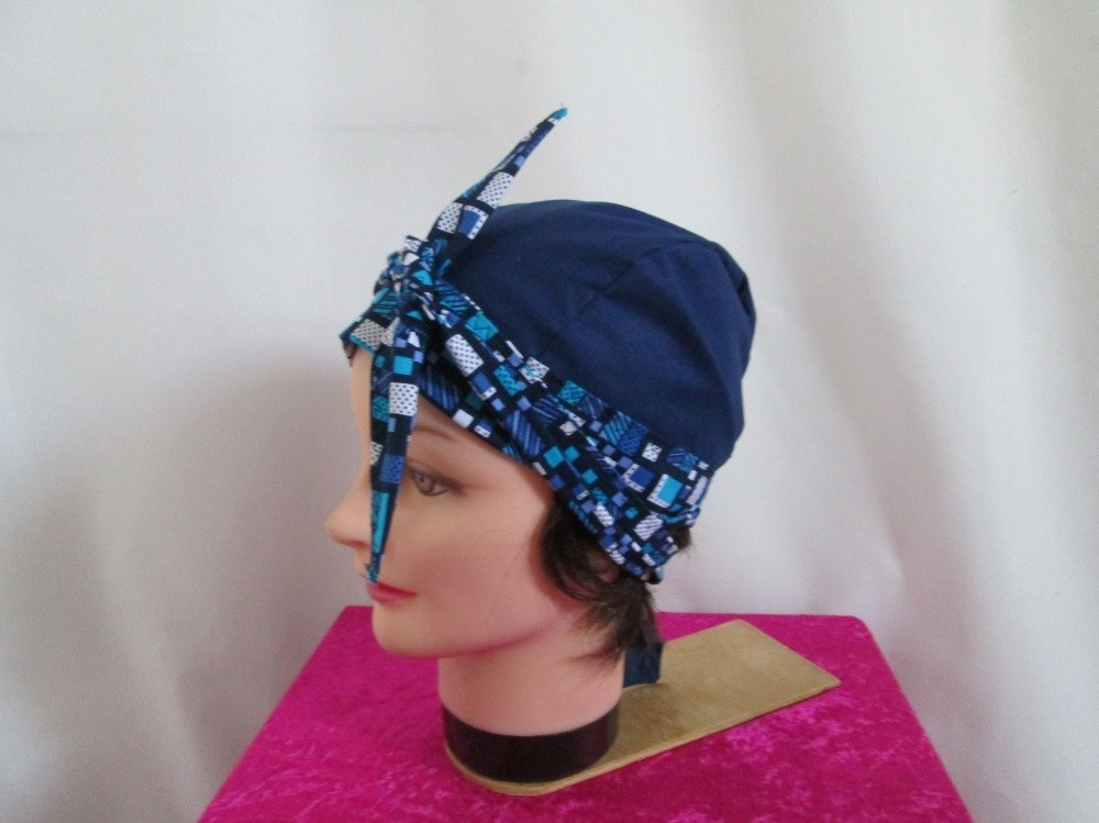 Foulard, turban chimio, bandeau pirate au féminin bleu marine et turquoise motif mosaïque
