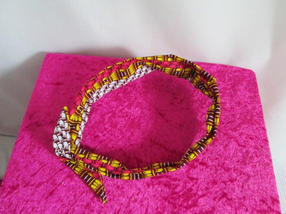 Bandeau vintage rigide à nouer bordeaux, jaune, blanc et rose motif africain