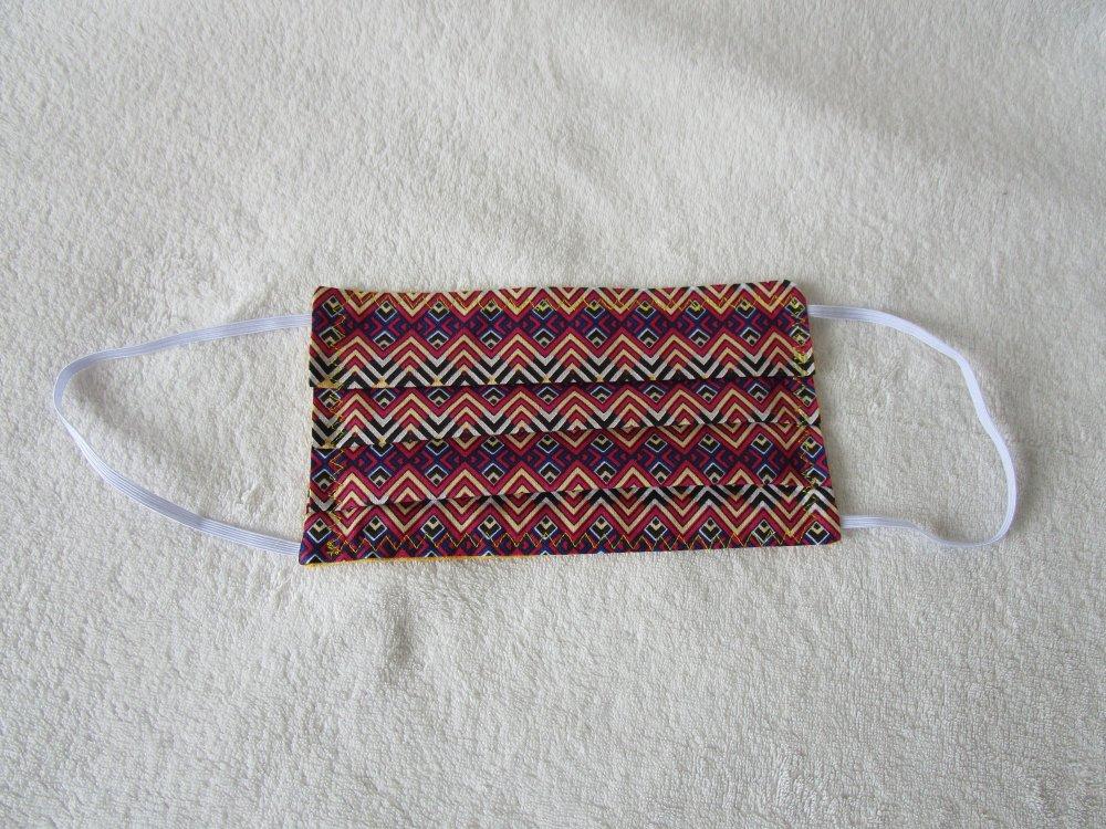 Masque de protection de couleur fuchsia, jaune, violette motif ethnique