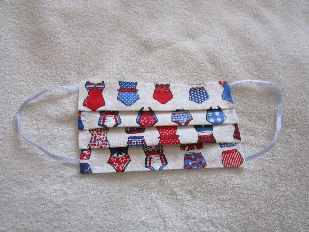 Masque de protection de couleur bleue,blanche, rouge et noire imprimé maillot de bains