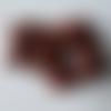 Lot 11 perles tonneau long en bois exotique roux