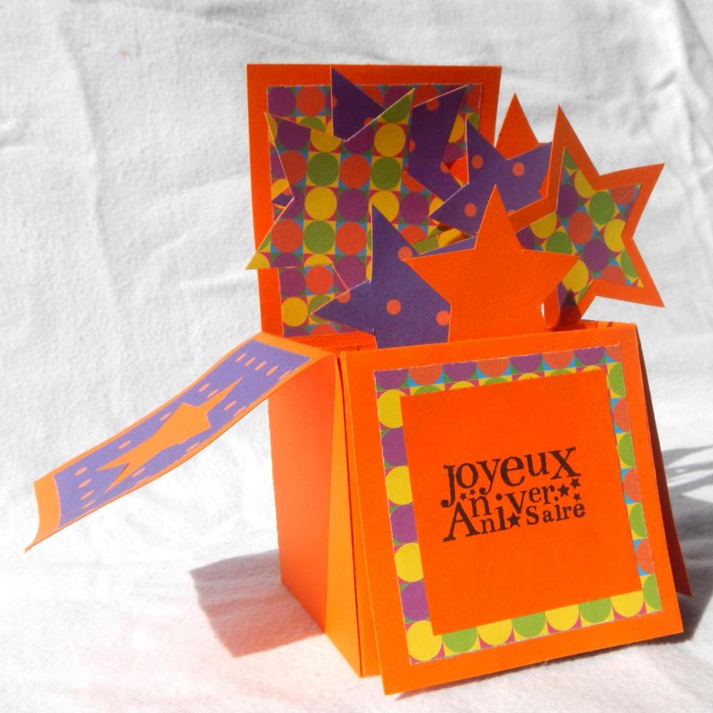 """carte """"joyeux anniversaire"""" orange/violet"""