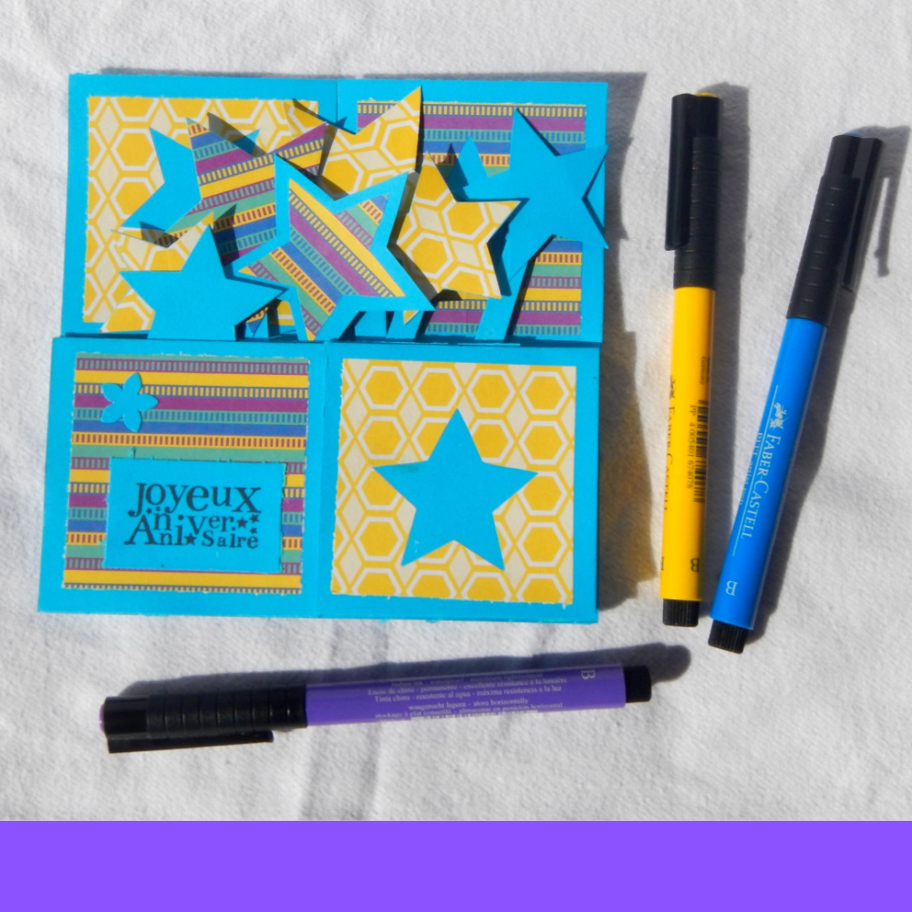 "carte ""joyeux anniversaire"" bleu/jaune"