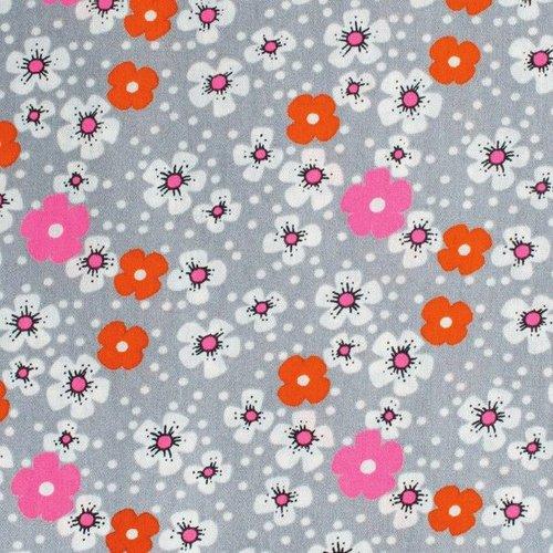 Coton enduit fleurs des iles gris
