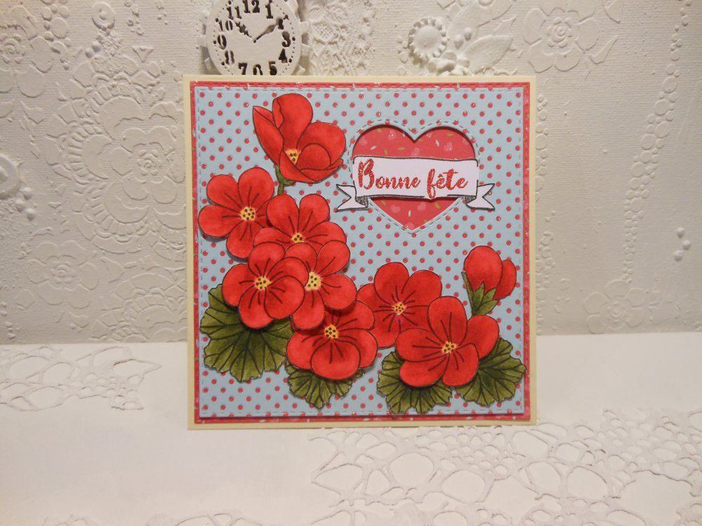 Carte bonne fête, fête des mères, grands-mères, géranium rouge
