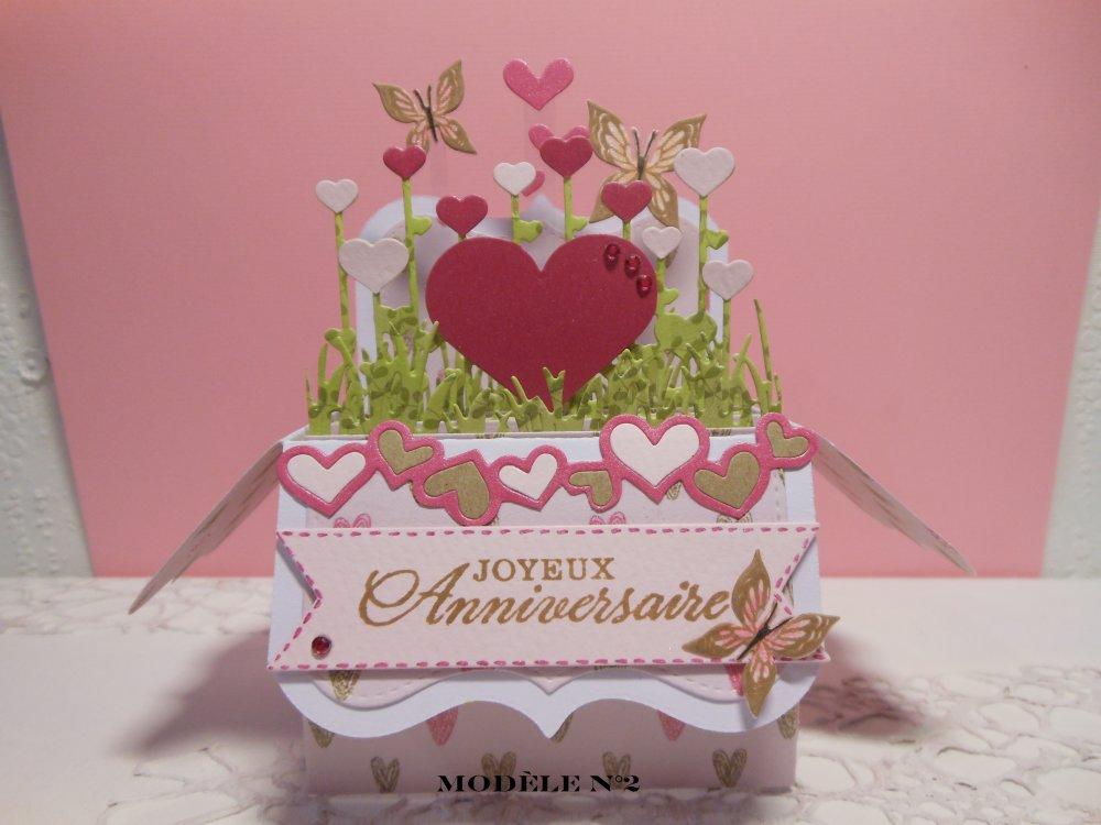 Existe un modèle similaire carte anniversaire pop up boîte coeur 1, fuchsia