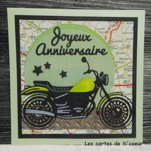 Vendu Carte Anniversaire 15 X 15 Moto Roadster Vert Homme Ou Femme Un Grand Marche