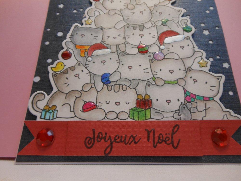 Carte de voeux sapin de chats joyeux noël