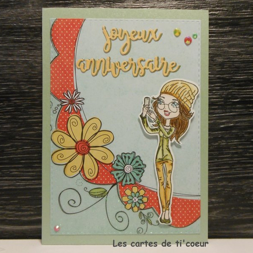 Carte Anniversaire Jeune Fille Au Bonnet Fleurs Multicolores Un Grand Marche