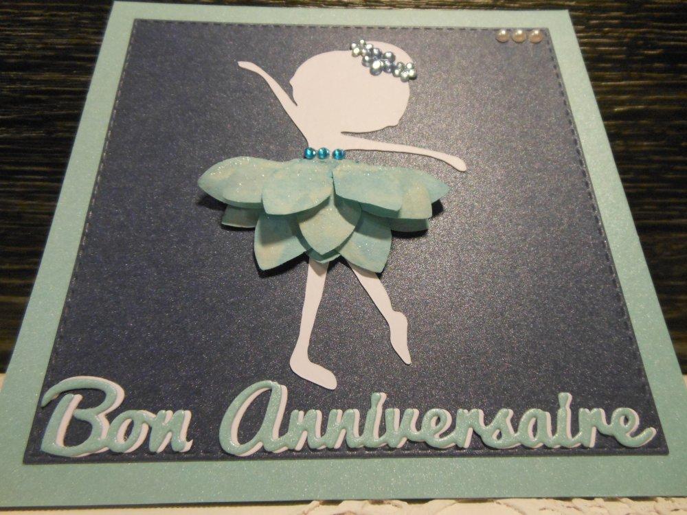 Vendu carte anniversaire danseuse blanche fleur bleue enfant fille