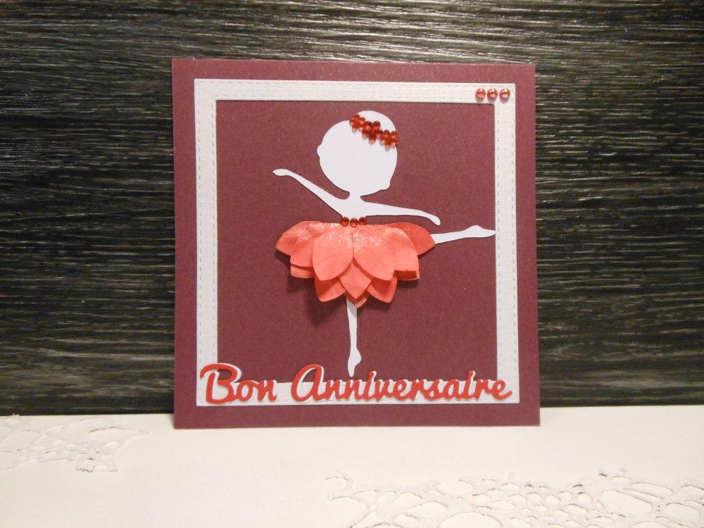 Carte anniversaire danseuse blanche fleur rouge enfant fille