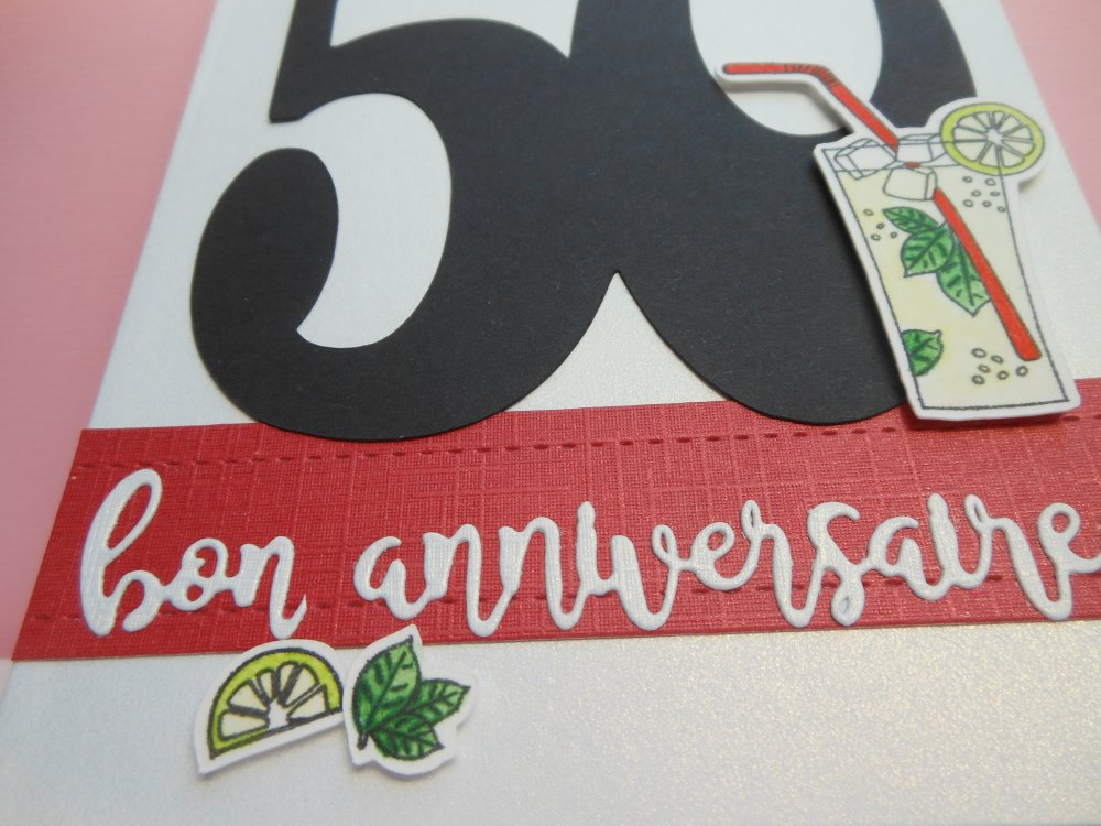 Carte anniversaire 50 ans cocktail mojito