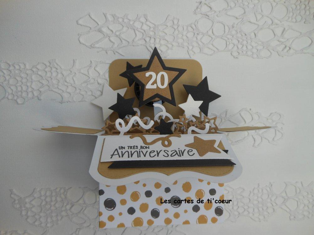 Carte anniversaire pop up boîte âge personnalisable masculine homme garçon pois noir blanc et kraft