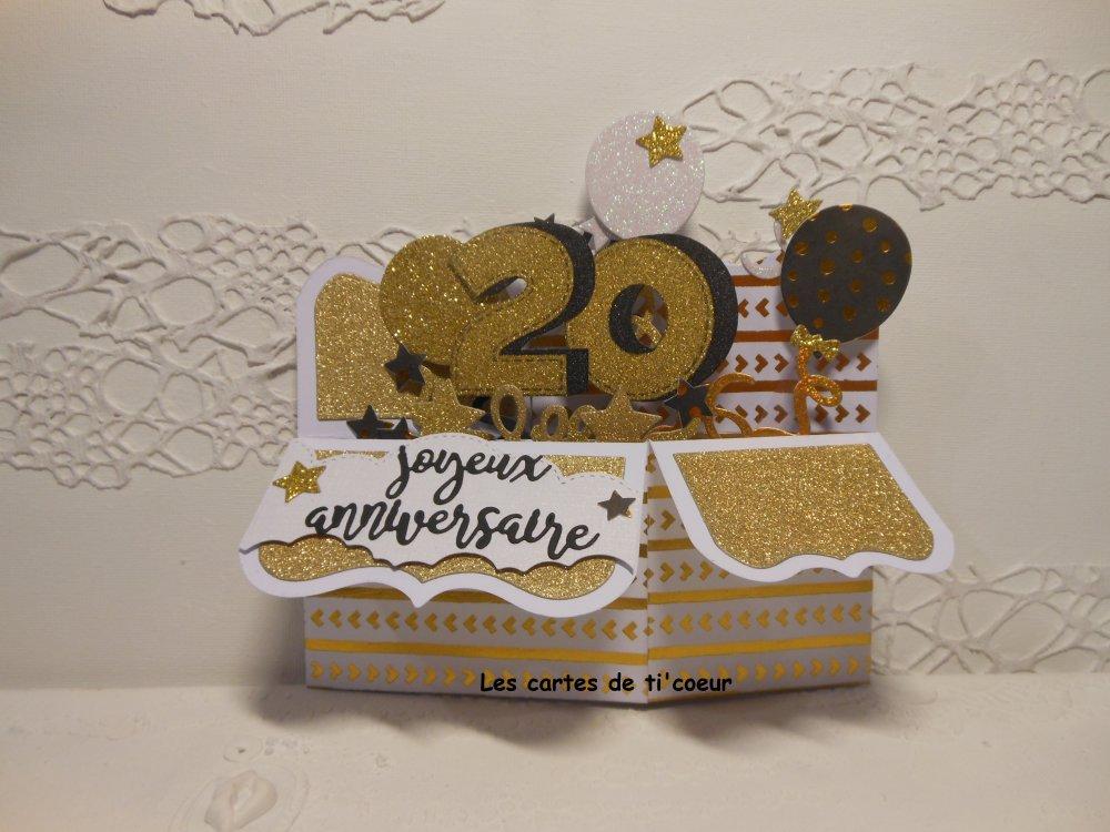 Vendu carte anniversaire 20 ans blanc or pop up boîte homme ou femme ou mariage 2