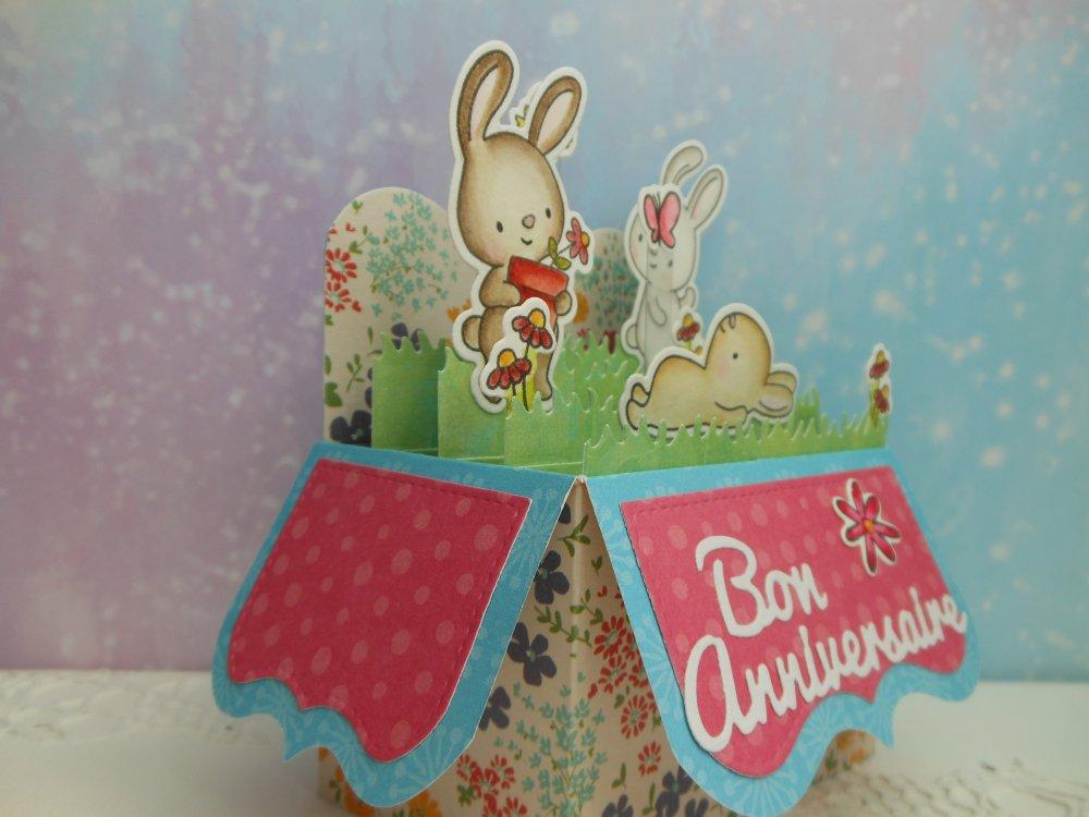 Carte anniversaire pop up boîte petits lapins rose 2