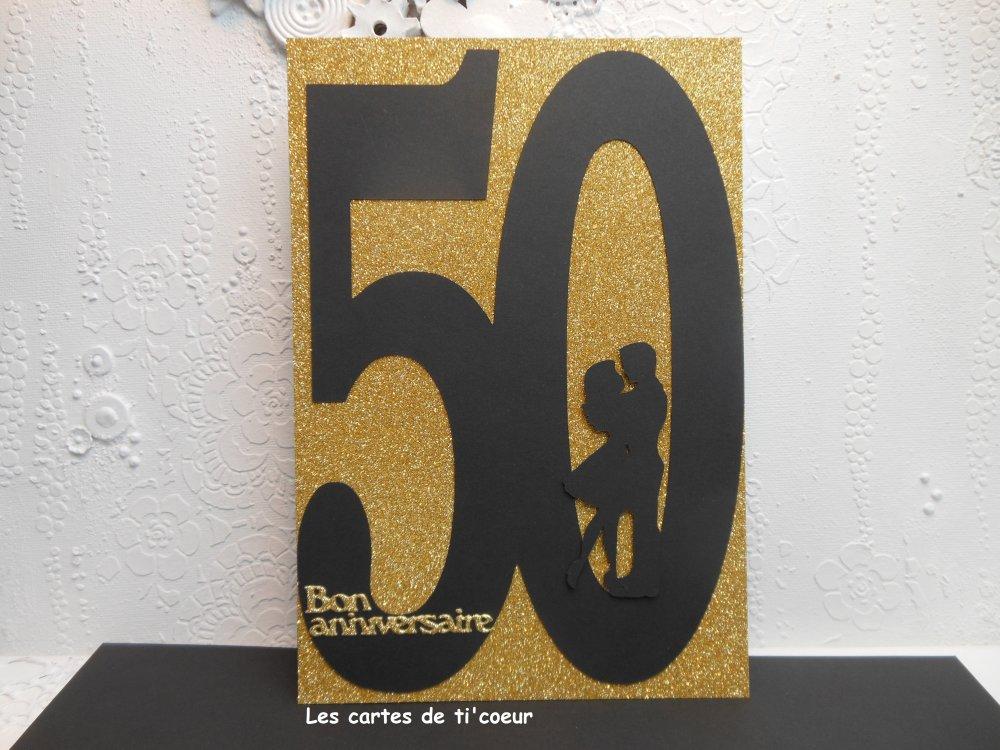Carte Xl Anniversaire De Mariage 50 Ans Noces D Or 14 5 X 21 Modele 2 Un Grand Marche