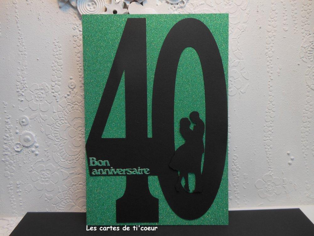Carte Xl Anniversaire De Mariage 40 Ans Noces D Emeraude 14 5 X 21 Un Grand Marche