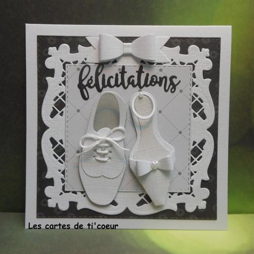 Carte félicitations mariage paire de chaussures blanc