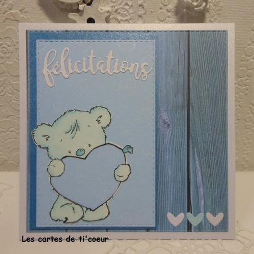Carte de naissance ourson gros coeur bleu garçon