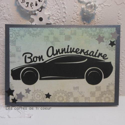 Carte anniversaire voiture de sport masculine homme