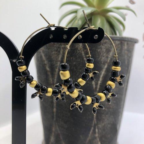 Boucle d'oreille créole bronze à chainette à chevrons rouge ou turquoise ou noir ou bleu marine