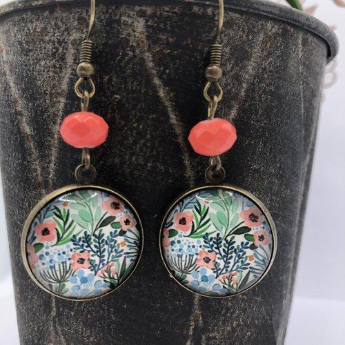 Boucle d'oreille pendantes bronze à cabochon fleuri liberty perles turquoise ou corail vif