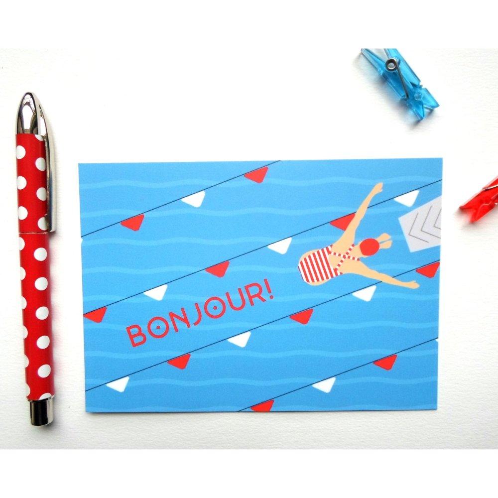 """carte Bonjour """" Le grand saut """""""