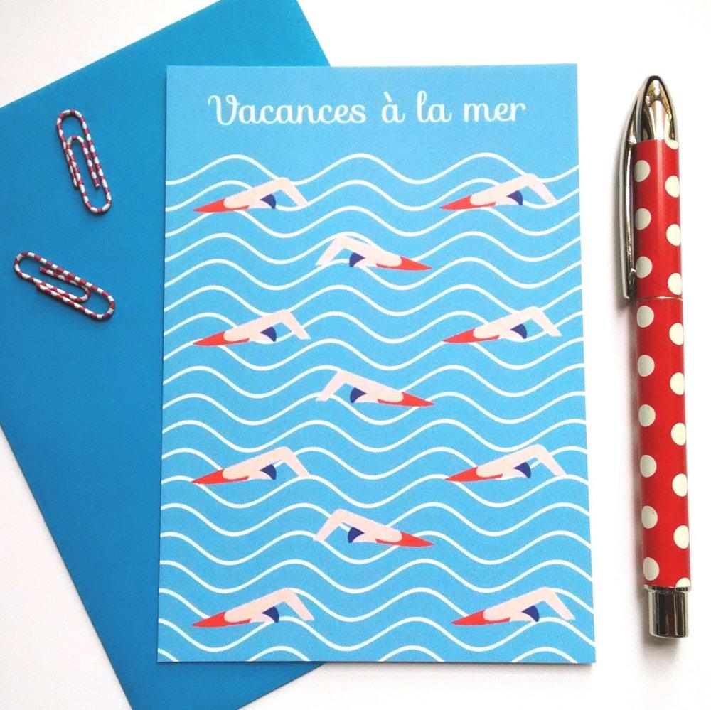 """carte été """" Vacances à la mer """""""
