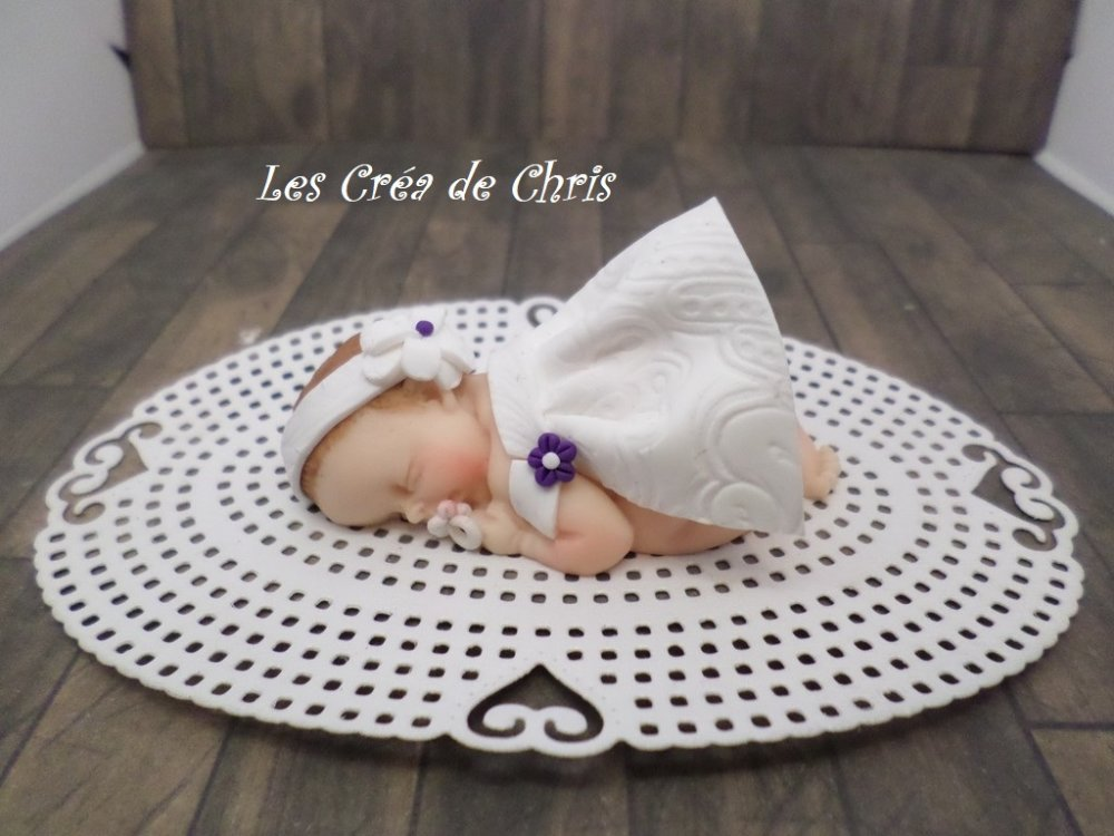 bébé fimo fille baptême.