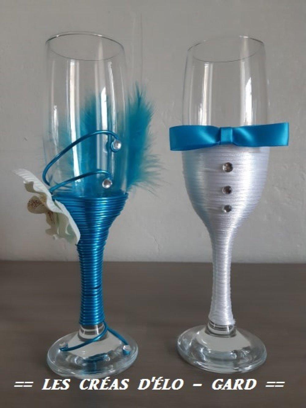 lot de 2 duos de flûtes pour témoins de mariage en turquoise et orchidées
