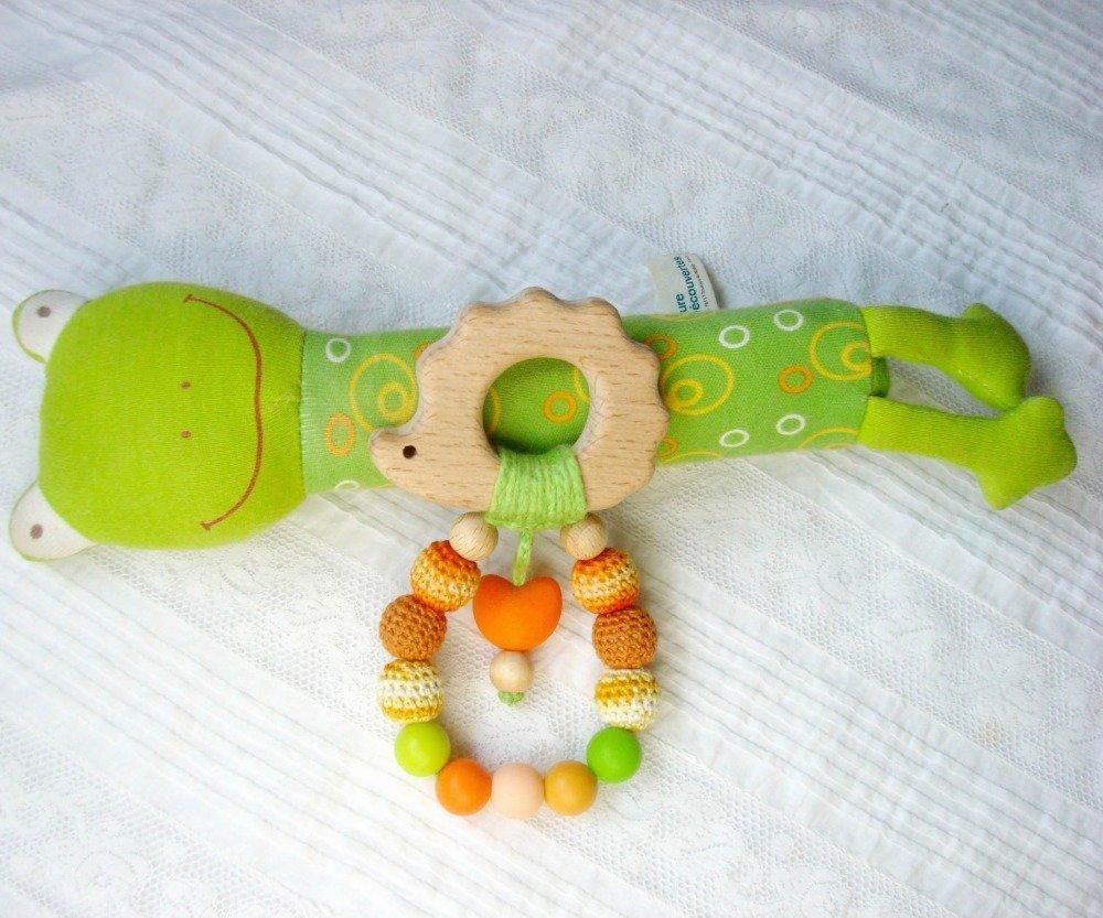 Jouet-anneau de dentition en hêtre, perles de silicone et coton crocheté