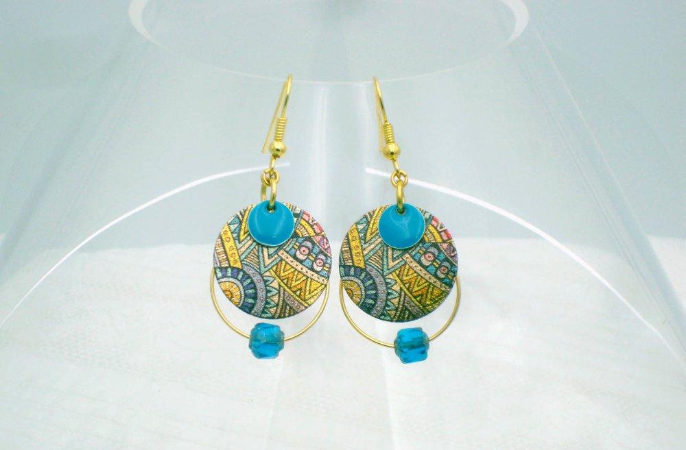 Pendants d'oreille or et turquoise
