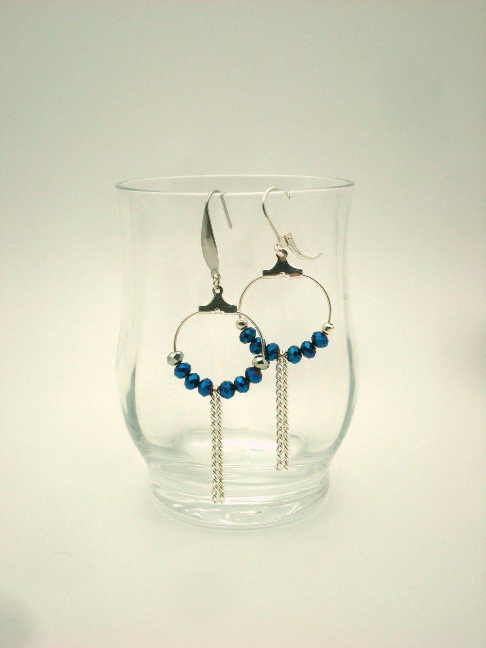 """Boucles pendants d'oreille """"argent et bleu"""" et chaîne gourmette"""