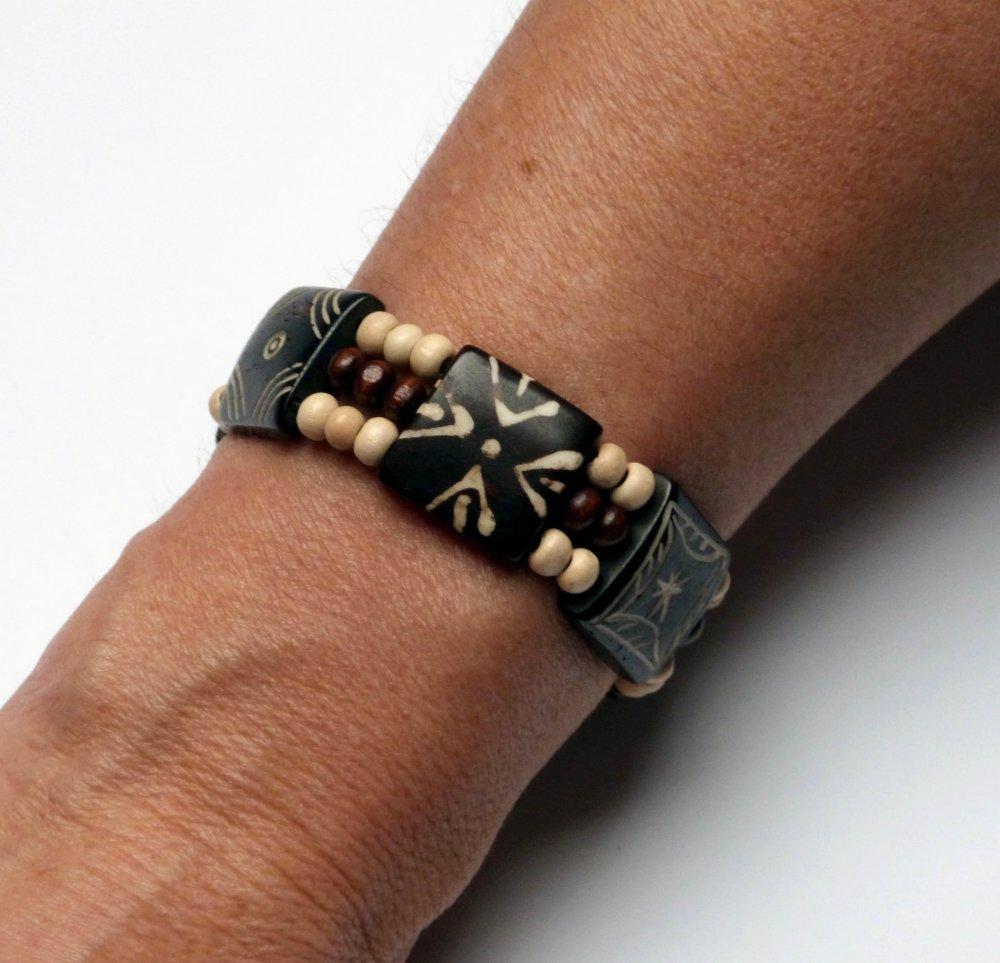 Bracelet manchette ethnique en os et bois, harmonie marron et écru