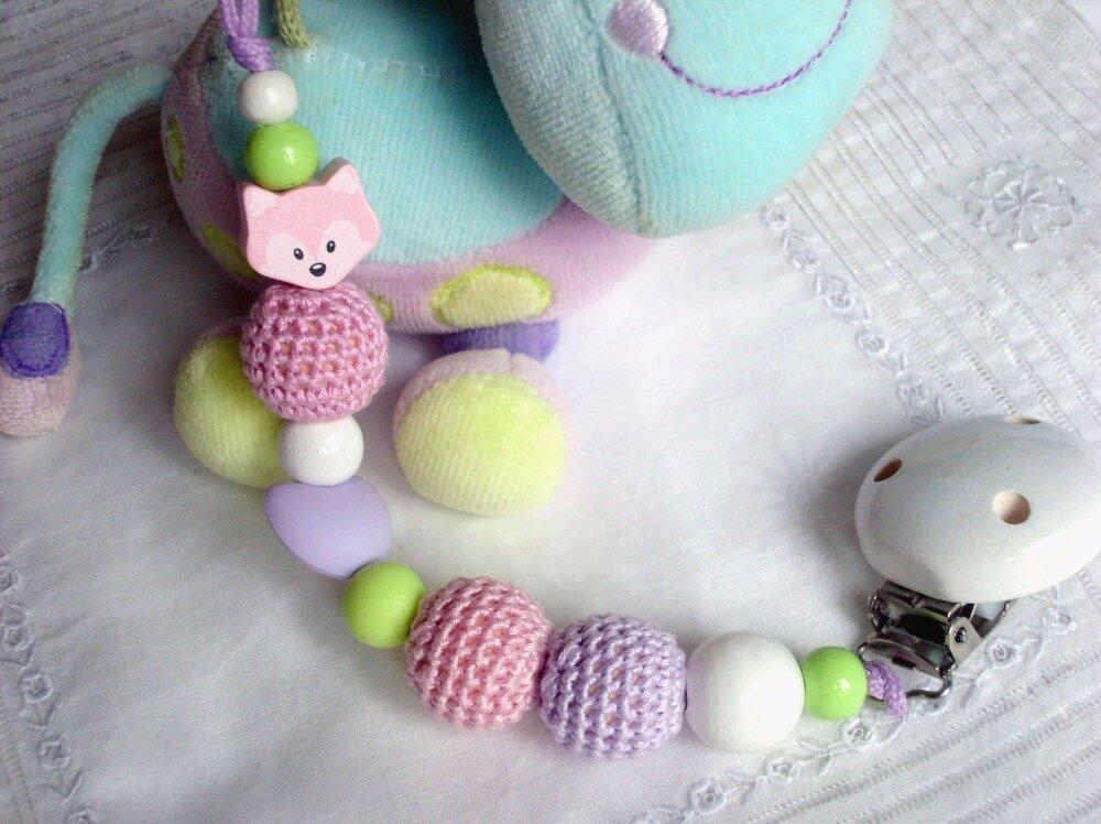 """Attache-tétine pour fille """"Renard rose"""", perles en coton crocheté, en silicone et bois"""