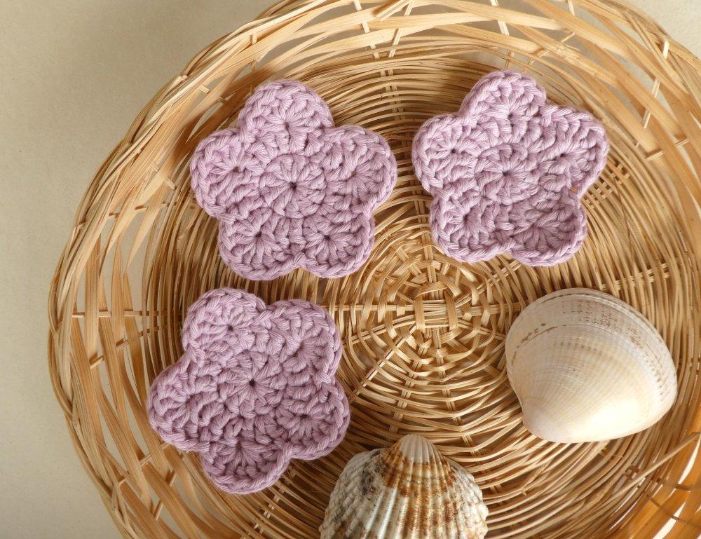 Lot de 3 disques fleurs démaquillants lavables coton rose