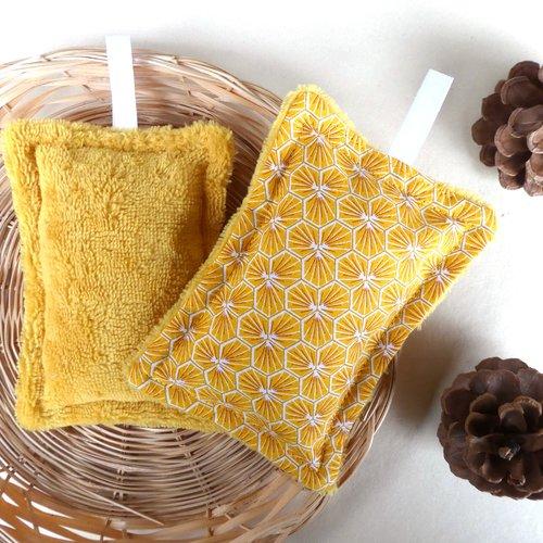 Éponge lavable grand format coton motif «riad jaune safran» / éponge de bambou jaune safran