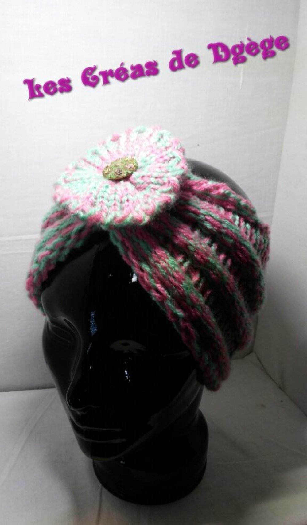 HEAD BAND / BANDEAU ROSE / VERT GODRON GROSSE FLEUR