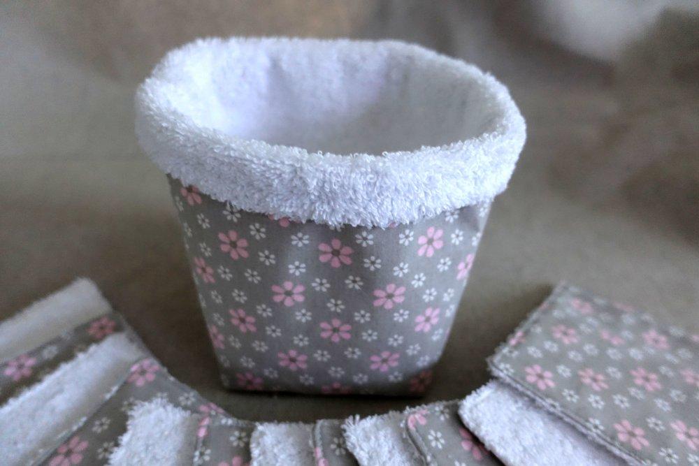 Panière et carré de lingettes bébé petites fleurs
