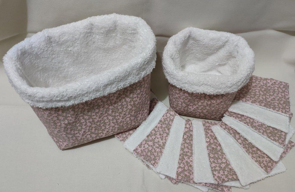 Panière à couches et panière avec rectangle de lingettes bébé petites fleurs