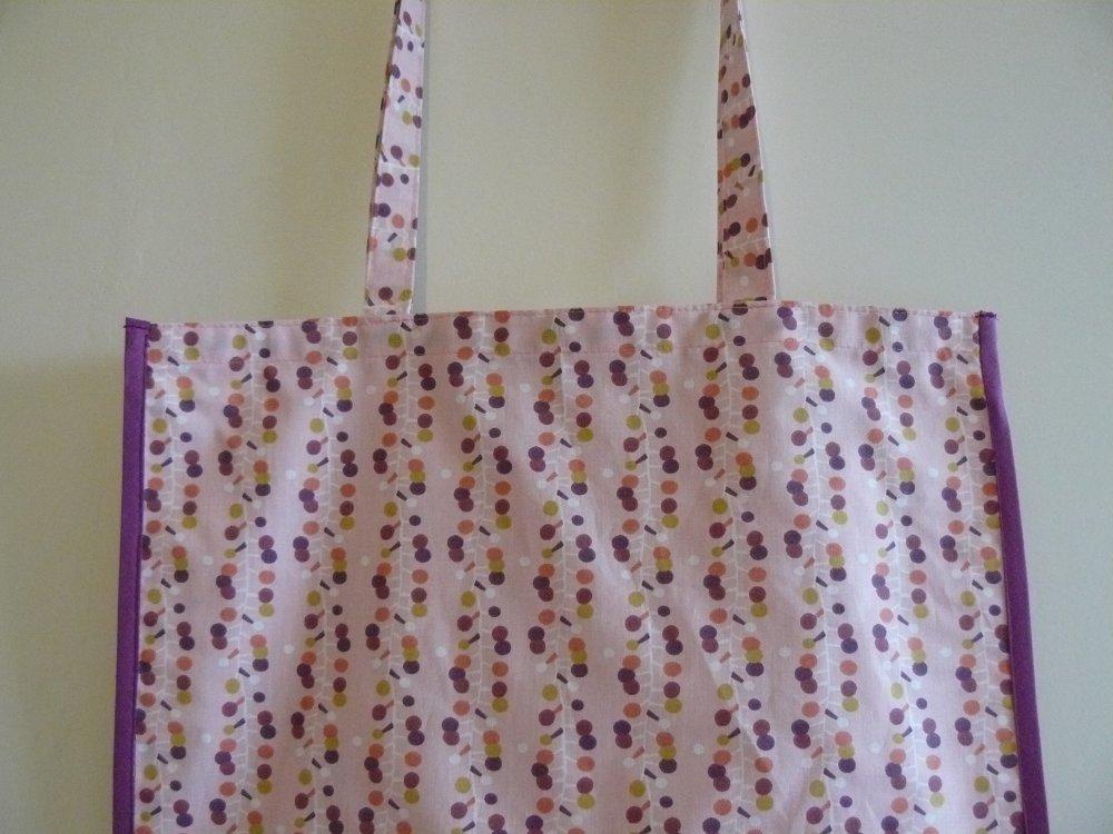 Zéro déchet, planète propre, sac cabas  pour les courses , en tissu coton, à pois multicolores sur fond rose .