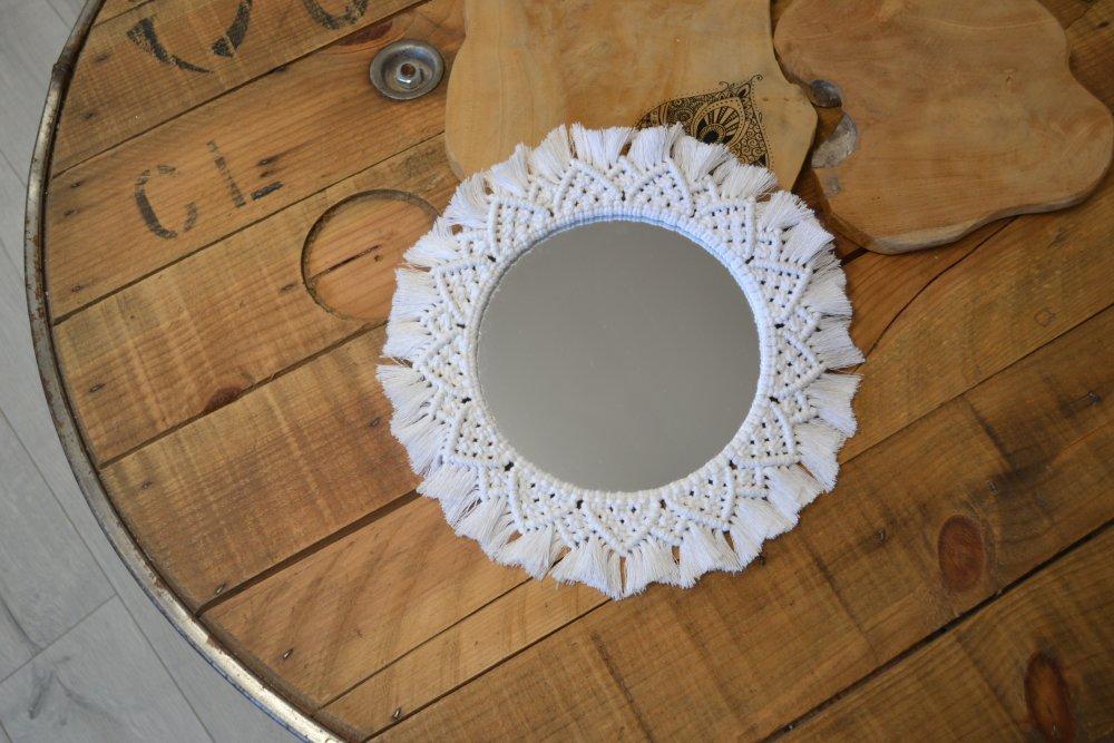 Miroir macrame blanc