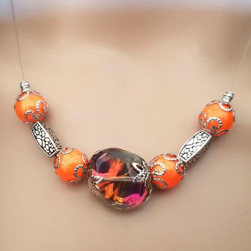 Collier perles verre orange vif, transparente reflets, coupelles, fil, acier, fermoir, chaînette en métal acier inoxydable argenté