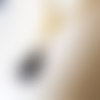Collier avec perles en verre marron, noir, chaînette d'extension, coupelles, bélière en métal doré