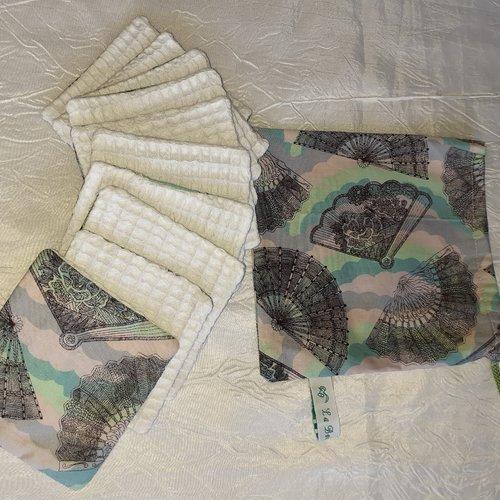 Lingettes réutilisables et son sac de rangement