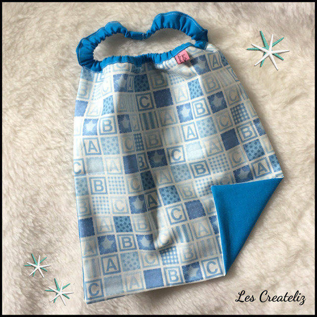 Serviette/bavoir élastique coton bleu garçon