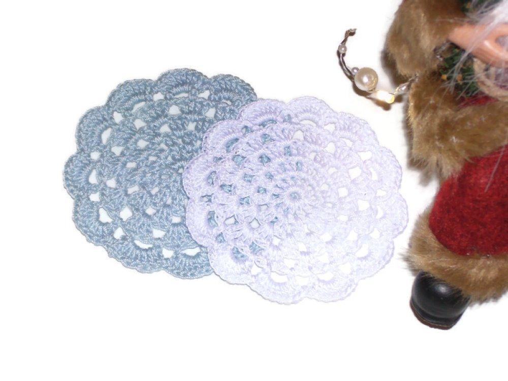 2 napperon au crochet bleu,blanc,fait main,décoratif